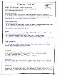 C V Template For First Time Resume Format Job New Examples Perfect