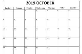 October 2019 Calendar Excel Template Free Printable