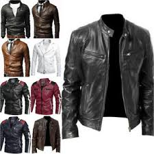 <b>Pu Leather</b> Biker <b>Jacket</b> in <b>Men's</b> Coats & <b>Jackets</b> for sale | eBay