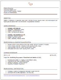 Sample Hr Resumes Experience Resume Format For Hr Fresher Under Fontanacountryinn Com