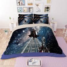 3d outer space cat duvet cover set bedding set pillow case quilt comforter cover