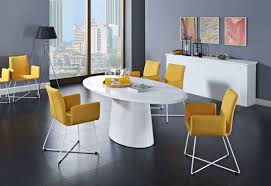 modern white dining room chairs. Oval Modern White Dining Table With Sweet Yellow Minimalist Chairs Set On Black Room Interior Floor