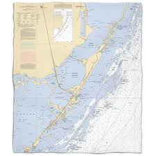Key Largo Chart Island Girl Fl Key Largo Fl Nautical Chart Fleece Throw