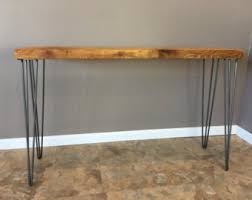 wooden console table. Reclaimed Wood Console Table W/ Hairpin Legs, Handmade, Salvaged Barn Planks, Wooden