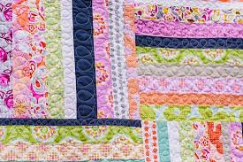 Bijou Lovely: Weekends Baby Quilt. & I like practicing my FMQ on these little quilts, so I quilted this one with  big loops along each strip! It was fun. Adamdwight.com