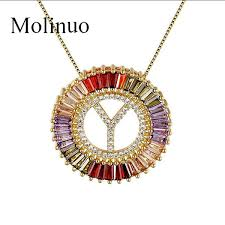 Wholesale <b>Molinuo</b> New Arrival <b>Gold Color</b> Micro Pave Rainbow CZ ...