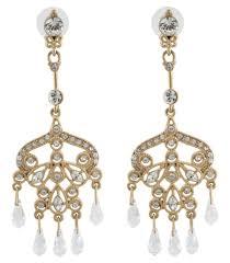 zest ornate chandelier clear swarovski crystal pierced earrings golden