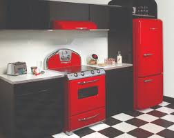 black and red kitchen design. luxurious kitchen design with stylish red detail : black and chessboard floor e