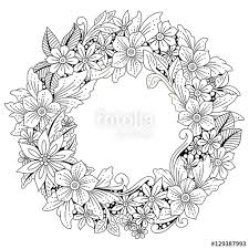 Wreath Of Flowers And Leaves Floral Frame Doodle Art Coloring