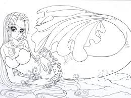 Realistic Mermaid Coloring Pages Download And