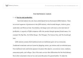 fast food industry analysis gcse design technology marked by  document image preview