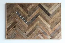 reclaimed wood wall art herringbone