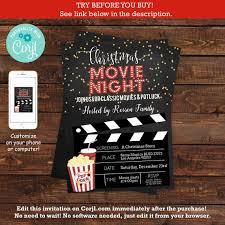 Movie Night Invitation Templates Christmas Movie Night Invitation Template Pajama Christmas Party