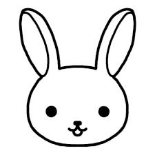 ウサギ兎動物の顔動物無料白黒イラスト素材