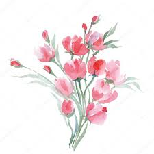 watercolor painting of bouquet of a wild flowers summer background element for design