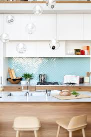 Light Blue Herringbone Tile 9 Inspirational Kitchens With Geometric Tiles Shiny Light