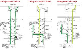 2005 mitsubishi endeavor goes down rr door but not up so essentially what we are looking at here is a breach on the down side of the circuit either in the master window switch or between the master switch and