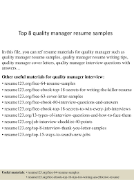 Top 8 quality manager resume samples In this file, you can ref resume  materials for ...