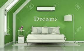 Grünes Schlafzimmer Im Dachgeschoss Mit Doppelbett Lampe Und