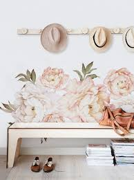 peony flowers wall stickers white peonies wall art