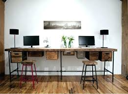 two person computer desk reclaimed wood long computer desk for two with  metal legs and hanging