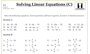 grade 8 linear equations worksheets worksheet free printable math on best algebra expressions and grad