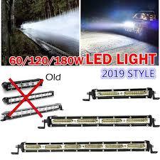 <b>Super Slim</b> 7/<b>13</b>/19 inch <b>60W</b>/120W/180W LED Light Bar Grill Spot ...