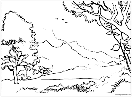 forest landscape coloring page free coloring pages