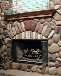 sblend river rock stone veneer fireplace