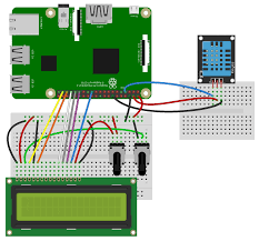 how to set up the dht11 humidity sensor on the raspberry pi wiring for lcd output