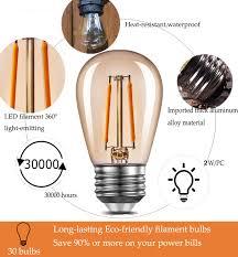 Wishful Led Grow Lights Edison Amber Led S14 Light Bulbs E26 1 5 Watt 200 Lumen Warm 2200k Vintage Outdoor String Lights Bulb Great For Patios Wedding Decor Lighting 30 Pack