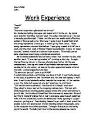 past work experience essay work experience my reflection victoria university