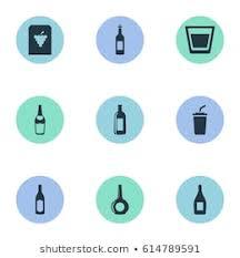 vector ilration set of simple water icons elements vine plastic mug liquor and
