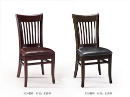 traditional casual dinette decor with 2 pieces upholstery leather wooden dining chairs mission style back