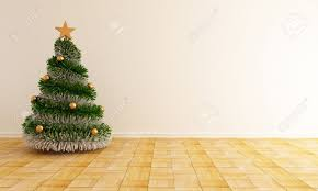 Living Room Christmas Christmas Tree With A Star In A Empty Living Room Rendering