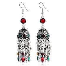 ethnic silver earrings tibetan statement rhinestones tassels vintage chandelier earrings for women