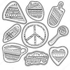 coloring page stickers and embroidery patches collection vintage style pin trendy label patch sticker coffee feather pacific sign watermelon