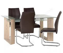 dining chairs brown. Seconique Milan Sonoma Oak Dining Set With 4 Brown Faux Leather Chairs F