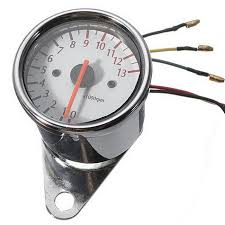 motorcycle pointer type led digital electronic tachometer silver