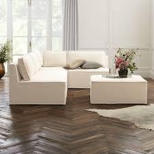 quattro snow velvet tufted 4 piece sectional sofa