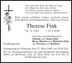 Traueranzeigen von Therese Fink | trauer.merkur.de