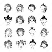 Set Of Cute Girl Characters Cartoon For Your Design Stock Vector