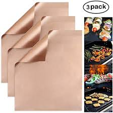 PTFE Copper <b>Grill Mat Non</b>-<b>Stick</b> BBQ Bake Matt Set of 5 Copper ...
