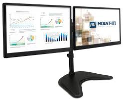 com mount it dual monitor desk stand lcd mount adjule free standing two computer led displays stand 20 23 24 27 inch screen sizes