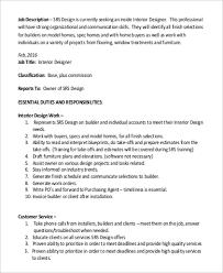 Sample Interior Designer Job Description 9 Examples In