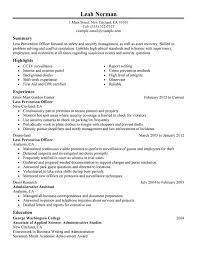 Loss Prevention Sample Resume