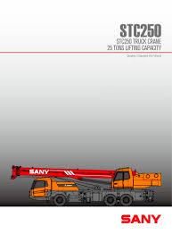 Stc250 25ton Truck Cranes Sany Pdf Catalogs Technical