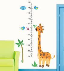 Height Chart Pictures Pvc Vinyl 30 X 48 Inch Cute Giraffe Height Chart Birds Wall Sticker By Print Mantras
