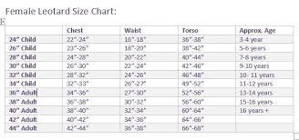 Leotard Size Chart Darcy Leotards Size Chart