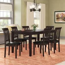 winnetka 7 piece brown wood dining set